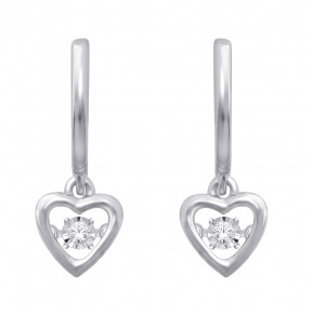 Sterling Silver 0.05 Ct.Tw. Moving Diamond Heart Earrings