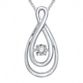 Sterling Silver 0.05 Ct.Tw. Moving Diamond Fashion Pendant 3
