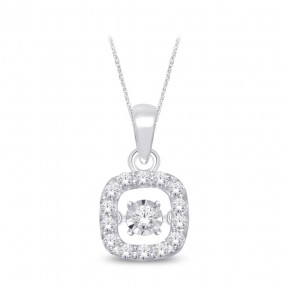 Sterling Silver 0.25 Ct.Tw. Moving Diamond Fashion Pendant