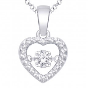 Sterling Silver 0.05 Ct.Tw.Moving Diamond Fashion Pendant 2
