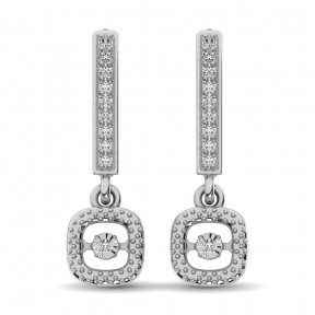 Sterling Silver 0.05 Ct.Tw. Moving Diamond Danglers Earring 1