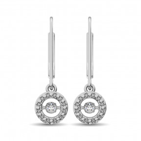 Sterling Silver 0.05 Ct.Tw. Moving Diamond Danglers Earring 2