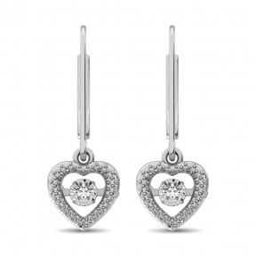 Sterling Silver 0.05 Ct.Tw. Moving Diamond Danglers Earring 3