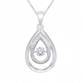Sterling Silver 0.05 Ct.Tw. Moving Diamond Fashion Pendant 2