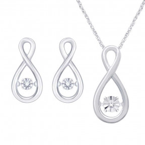Sterling Silver 0.05 Ct.Tw. Moving Diamond Pendant & Earrings Set
