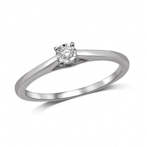 10K White Gold 0.05 Ct.Tw.Diamond Solitaire Ring