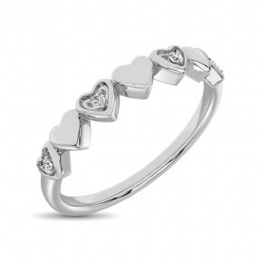 14K White Gold 0.05 Ct.Tw.Diamond Little Heart Stackable Band