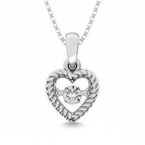 Sterling Silver 0.05 Ct.Tw. Moving Diamond Heart Pendant1