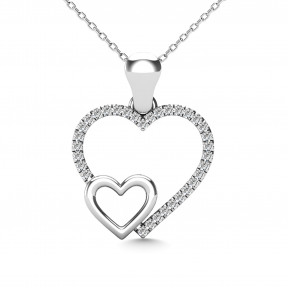 10K White Gold 0.05 Ctw Diamond Double Heart Pendant