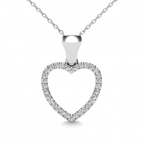 10K White Gold 0.1 Ctw Diamond Heart Pendant 1