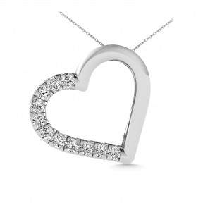 10K White Gold 0.1 Ctw Diamond Heart Pendant 3