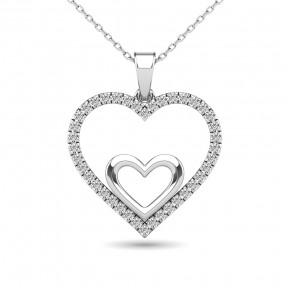 10K White Gold 0.20 Ctw Diamond Double Heart Pendant