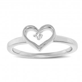 10K White Gold 0.05 Ctw Diamond Heart Ring