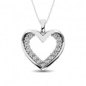 Sterling Silver 0.05 Ctw Diamond Heart Pendant 2