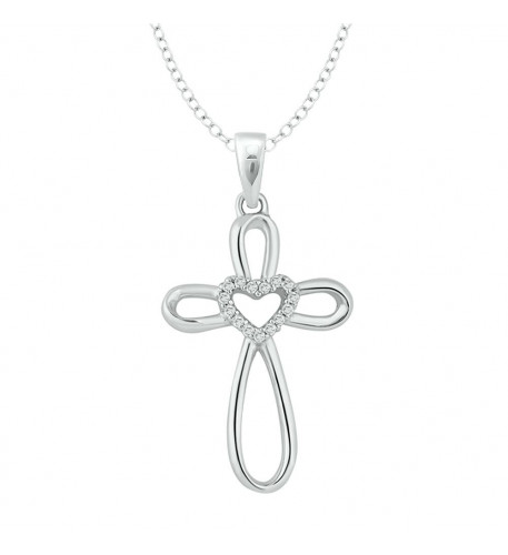 Sterling Silver Diamond Accent Heart & Cross Pendant