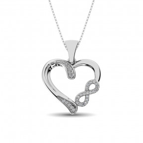 Sterling Silver 0.1 Ctw Diamond Heart Pendant 1