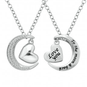 Sterling Silver 0.1 Ctw Diamond Heart  & Moon Pendant