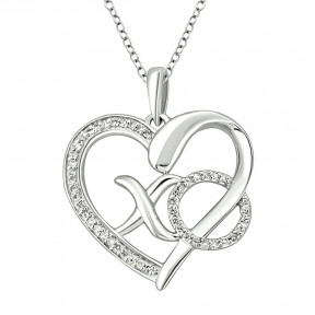 Sterling Silver 0.1 Ctw Diamond Heart Pendant