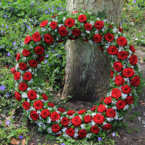 Red Mortuary Wreath