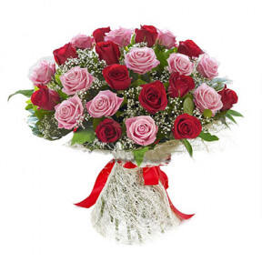 25 Pink and Red Roses Bouqhet