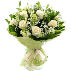 White Roses And Lily Bouquet