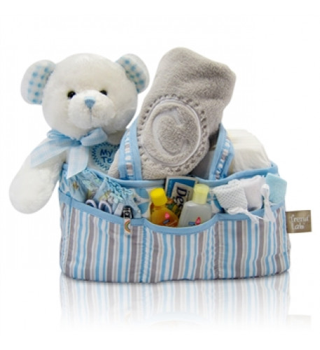 Baby Boy'S First Teddy And Diaper Caddy