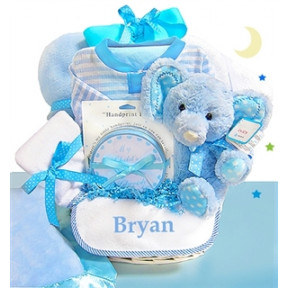 Minky Dots Blue Personalized Gift Basket