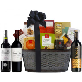 90 Point Red Wine Trio & Vintage Styled Gift Basket