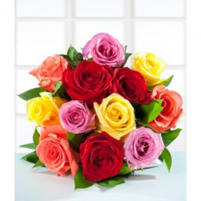 12 Colored Roses -Bouquet