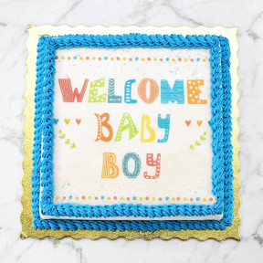 Custom Edible Print Cake - Welcome Baby Boy