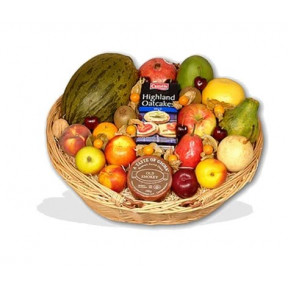 Fruit Basket With Cheese And Oatcakes