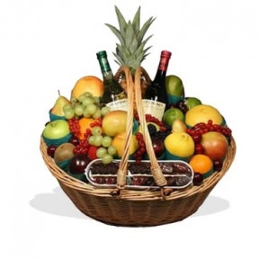 Fruit Basket With Red And White Wine