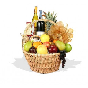 Grand Celebrations Fruit And Wine Basket