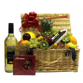 Fruit Hamper With Wine And Chocolates