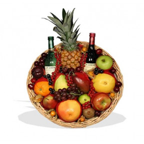 Fruit Tray With Red And White Wine