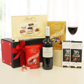 Deliciously Chocolatey Lindt Chocolate Gift Box with Red Wine