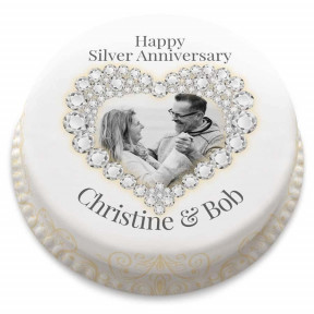 Silver Wedding Anniversary Cake (Small Party Cake (Serves 10-12) )