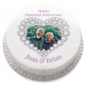 Diamond Anniversary Heart Cake (Small Party Cake (Serves 10-12) )