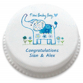 Baby Boy Elephant Cake (Small Party Cake (Serves 10-12) )