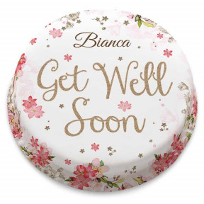Pink Floral Get Well Soon Cake (Small Party Cake (Serves 10-12) )