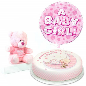 Pink Baby Teddy Gift Set (Small Cake Set (S) Serves 10)
