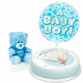 Blue Baby Teddy Gift Set (Small Cake Set (S) Serves 10)