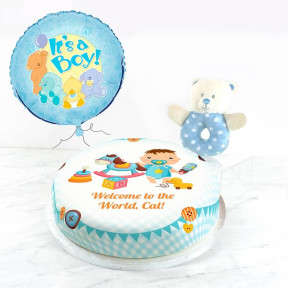 Baby Boy Rattle Gift Set (Small Cake Set (S) Serves 10 )