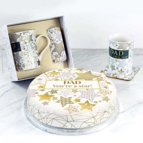 Dad Star Mug Gift Set (Small Cake Set (C) Serves 10 )