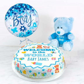 Welcome Baby Boy Gift Set (Small Cake Set (M) Serves 10 )