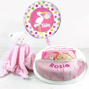 Pink Baby Blanket Gift Set (Small Cake Set (S) Serves 10 )