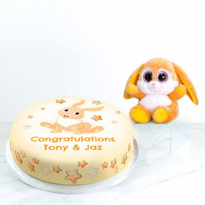 Congratulations Bunny Gift Set (Small Cake Set (S) Serves 10 )