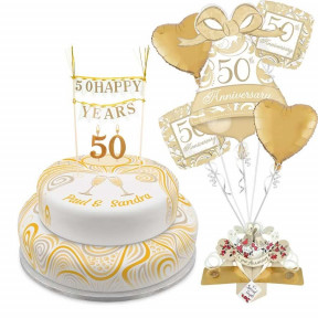Golden Anniversary Tiered Set (Single Tier (L)  Serves 10)