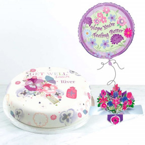 Get Well Flowers Gift Set (Small Cake Set (S) Serves 10 )