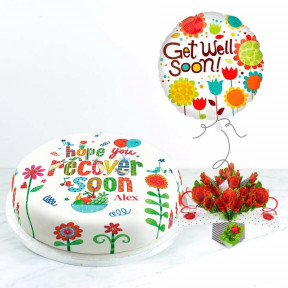 Get Well Roses Gift Set (Small Cake Set (S) Serves 10)